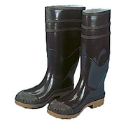 """Mutual Industries 16"""" PVC Sock Boots With Steel Toe, Black, Size 9"""