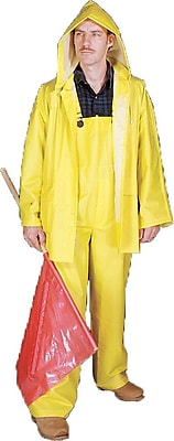 Mutual Industries 0.35mm PVC/Polyester 3 Piece Rainsuit, Yellow, Large