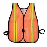 "Mutual Industries MiViz Heavy Weight Safety Vest With 1 1/2"" Lime/Silver/Lime Reflective, Orange"
