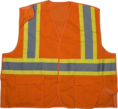 Mutual Industries MiViz ANSI Class 2 Mesh Tearaway Safety Vest With Pockets, Orange, Large