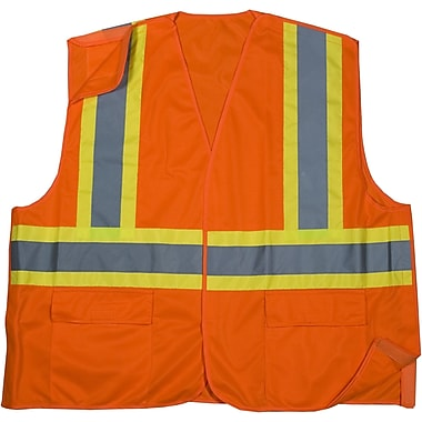 Mutual Industries MiViz ANSI Class 2 Solid Tearaway Safety Vest With Pockets, Orange, Large