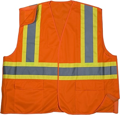 Mutual Industries MiViz ANSI Class 2 Solid Tearaway Safety Vest With Pockets, Orange, 3XL