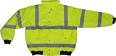 Mutual Industries MiViz ANSI Class 3 Bomber Jacket, Lime, Large
