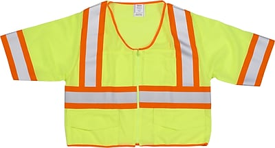 Mutual Industries MiViz ANSI Class 3 High Visibility Mesh Safety Vest With Pockets, Lime, Medium
