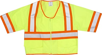 Mutual Industries MiViz ANSI Class 3 High Visibility Solid Safety Vest With Pockets, Lime, 2XL