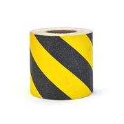 "Mutual Industries Non-Skid Hazard Stripe Abrasive Tape, 6"" x 60', Yellow/Black"