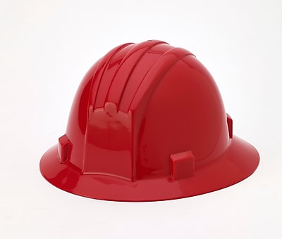 Mutual Industries Full Brim Hard Hat, Red