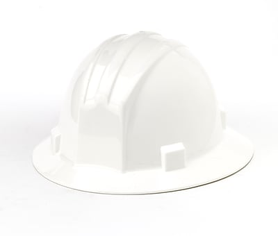 Mutual Industries Full Brim Hard Hat, White