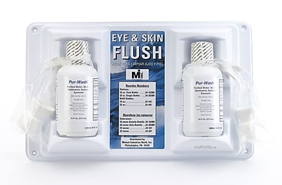 Mutual Industries Double Bottle Eye Wash Station Refill, 16 oz.