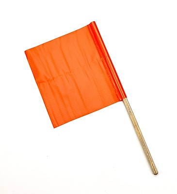 "Mutual Industries Standard Highway Safety Flag, 18"" x 18"" x 24"", Orange"