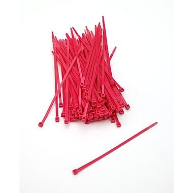 Mutual Industries Nylon Locking Ties, Neon Red, 100/Pack
