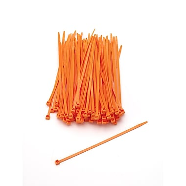 Mutual Industries Nylon Locking Ties, Neon Orange, 100/Pack