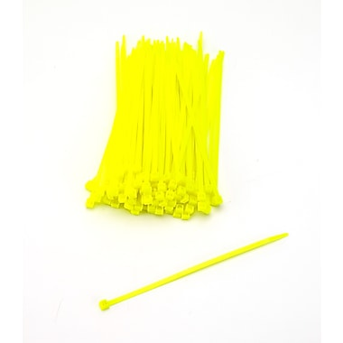 Mutual Industries Nylon Locking Ties, Neon Yellow, 100/Pack