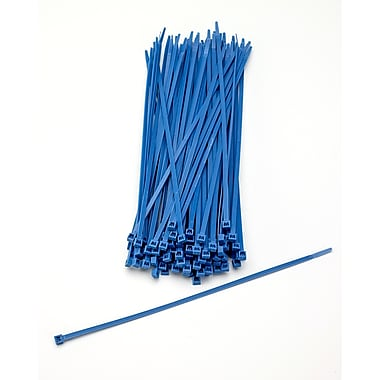 Mutual Industries Nylon Locking Ties, Neon Blue, 100/Pack