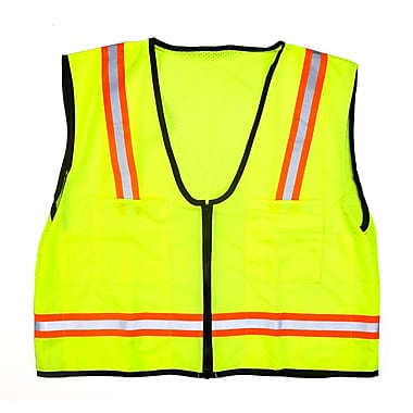 Mutual Industries MiViz High Visibility Mesh Back Surveyor Vest With Pocket, Lime, 2XL