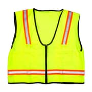 Mutual Industries MiViz High Visibility Mesh Back Surveyor Vest With Pocket, Lime, 3XL