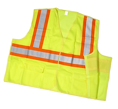 Mutual Industries MiViz ANSI Class 2 Solid Tearaway Safety Vest With Pockets, Lime, Medium