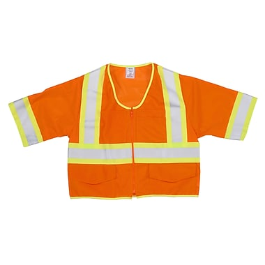 Mutual Industries MiViz ANSI Class 3 High Visibility Mesh Safety Vest With Pockets, Orange, Medium
