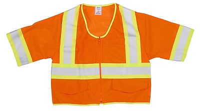 Mutual Industries MiViz ANSI Class 3 High Visibility Mesh Safety Vest With Pockets, Orange, 3XL