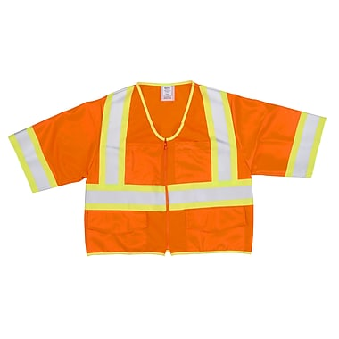 Mutual Industries MiViz ANSI Class 3 High Visibility Solid Safety Vest With Pockets, Orange, 3XL