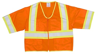Mutual Industries MiViz ANSI Class 3 High Visibility Solid Safety Vest With Pockets, Orange, Medium
