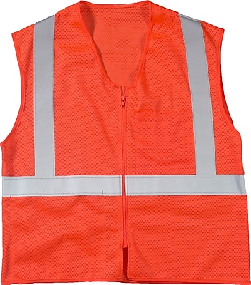 Mutual Industries MiViz ANSI Class 2 High Visibility High Value Mesh Safety Vest, Orange, 2XL/3XL