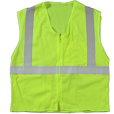 Mutual Industries MiViz ANSI Class 2 High Visibility High Value Mesh Safety Vest, Lime, Large/XL