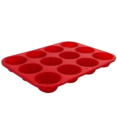 Marathon Management Silicone Mini Muffin Pan, Red, 12-Cup