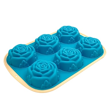 Marathon Management Premium Two-Tone Silicone 6-Cup Muffin or Cupcake Rose Pan, Blue