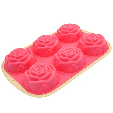 Marathon Management Premium Two-Tone Silicone 6-Cup Muffin or Cupcake Rose Pan, Pink