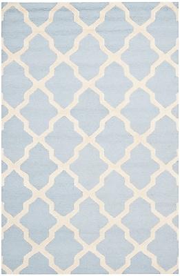 Safavieh Zoey Cambridge Wool Pile Area Rug, Light Blue/Ivory, 5' x 8'