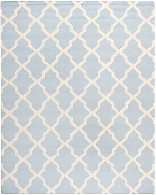Safavieh Zoey Cambridge Wool Pile Area Rug, Light Blue/Ivory, 8' x 10'