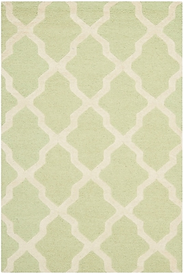 Safavieh Zoey Cambridge Wool Pile Area Rug, Light Green/Ivory, 5' x 8'