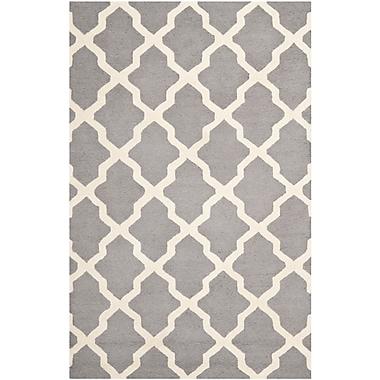 Safavieh Zoey Cambridge Wool Pile Area Rug, Silver/Ivory, 5' x 8'
