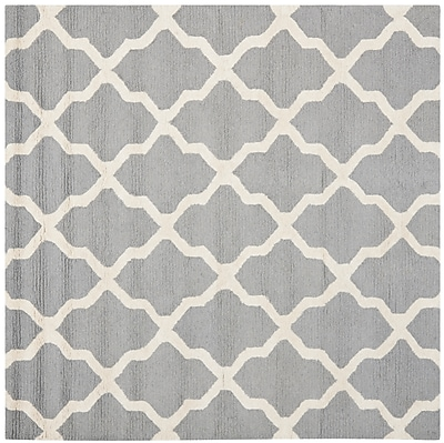 Safavieh Zoey Cambridge Wool Pile Area Rug, Silver/Ivory, 8' x 8'