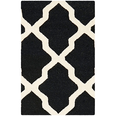 Safavieh Zoey Cambridge Wool Pile Area Rug, Black/Ivory, 2' x 3'