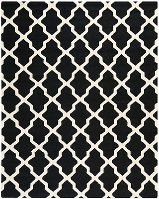 Safavieh Zoey Cambridge Wool Pile Area Rug, Black/Ivory, 6' x 9'