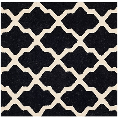 Safavieh Zoey Cambridge Wool Pile Area Rug, Black/Ivory, 8' x 8'