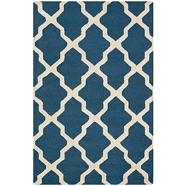 Safavieh Zoey Cambridge Wool Pile Area Rug, Navy Blue/Ivory, 4' x 6'