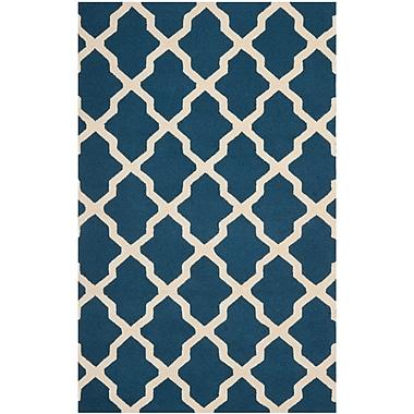 Safavieh Zoey Cambridge Wool Pile Area Rug, Navy Blue/Ivory, 5' x 8'