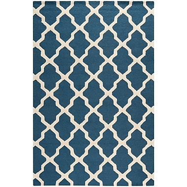 Safavieh Zoey Cambridge Wool Pile Area Rug, Navy Blue/Ivory, 6' x 9'