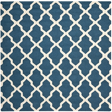 Safavieh Zoey Cambridge Wool Pile Area Rug, Navy Blue/Ivory, 8' x 8'