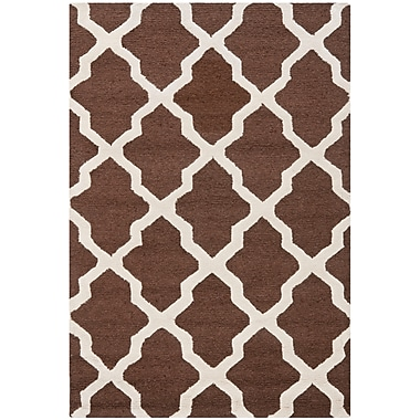 Safavieh Zoey Cambridge Wool Pile Area Rug, Dark Brown/Ivory, 4' x 6'