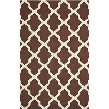 Safavieh Zoey Cambridge Wool Pile Area Rug, Dark Brown/Ivory, 5' x 8'