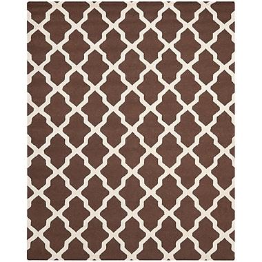 Safavieh Zoey Cambridge Wool Pile Area Rug, Dark Brown/Ivory, 9' x 12'