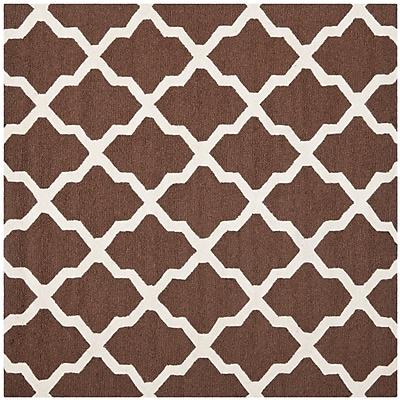 Safavieh Zoey Cambridge Wool Pile Area Rug, Dark Brown/Ivory, 8' x 8'