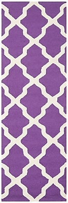 Safavieh Zoey Cambridge Wool Pile Area Rug, Purple/Ivory, 2' 6