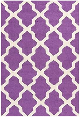 Safavieh Zoey Cambridge Wool Pile Area Rug, Purple/Ivory, 5' x 8'