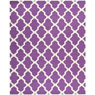 Safavieh Zoey Cambridge Wool Pile Area Rug, Purple/Ivory, 6' x 9'