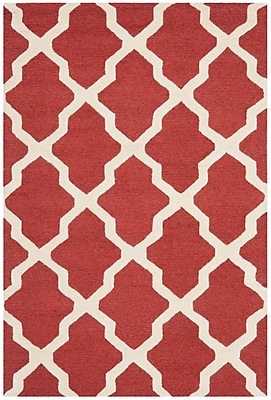 Safavieh Zoey Cambridge Wool Pile Area Rug, Rust/Ivory, 4' x 6'